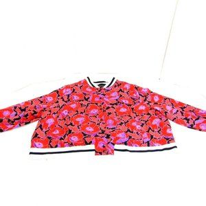 Who What Wear Floral Print Snap Button Bomber Coat